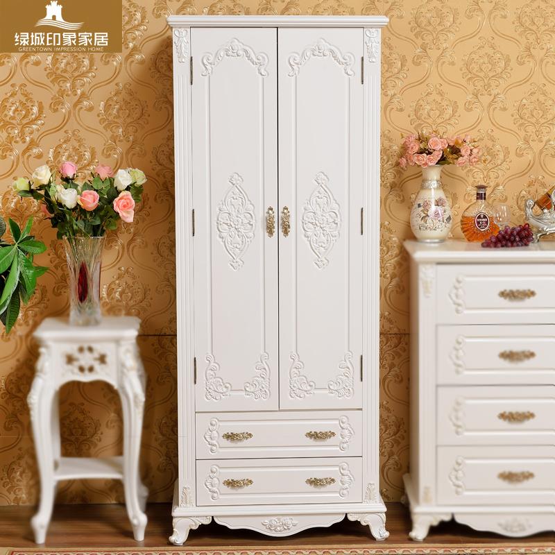 歐式衣櫃現代簡約實木經濟型兩門衣櫥卧室小戶型兒童雙門衣櫃白色