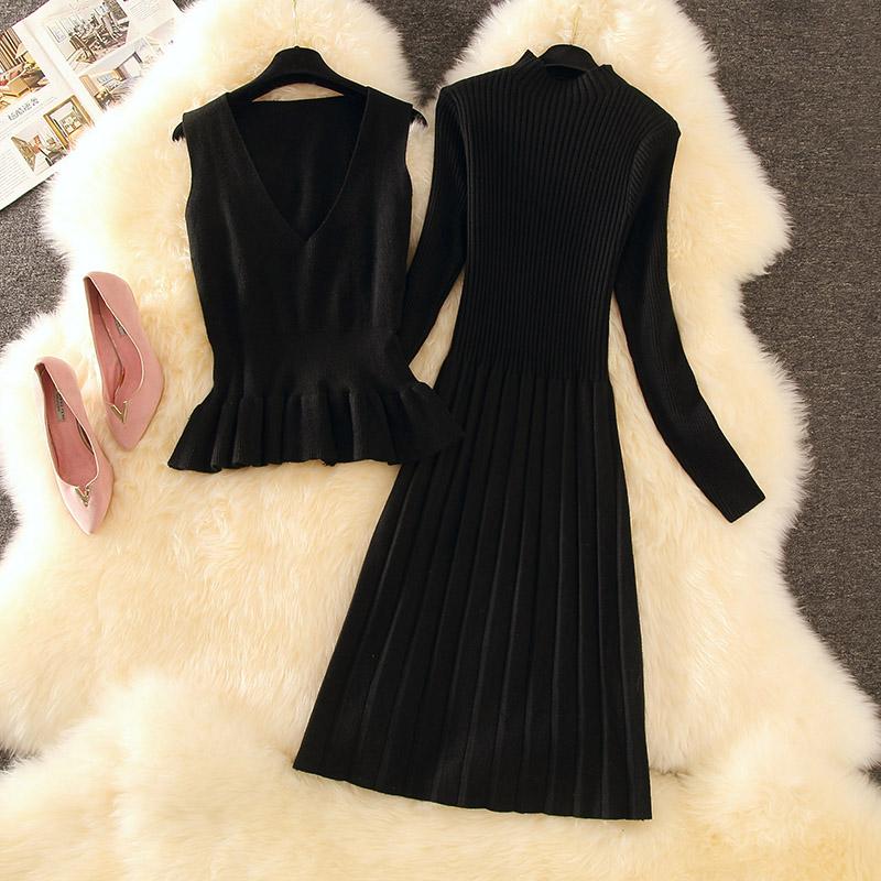 两件套洋气气质针织包臀秋冬连衣裙