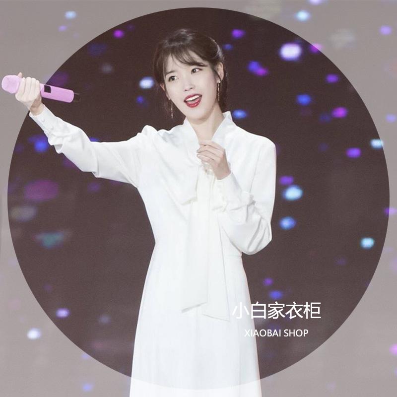 2018金レコードIU李知恩少女時代徐賢は同じ白いリボンの長袖中の長いワンピースです。