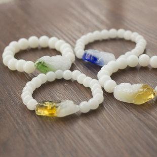 彩色玻璃貔貅手链白色佛珠手串男女地摊市场义乌小饰品批发