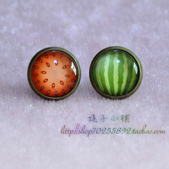 Fashion fruit jewelry female candy color sweet Earrings time gem EARRINGS HANDMADE JEWELRY RINGS WHOLESALE
