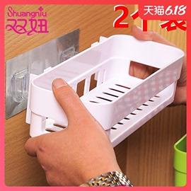 卫生间置物架壁挂浴室置物架免打孔厕所吸壁式吸盘卫浴收纳三角架图片