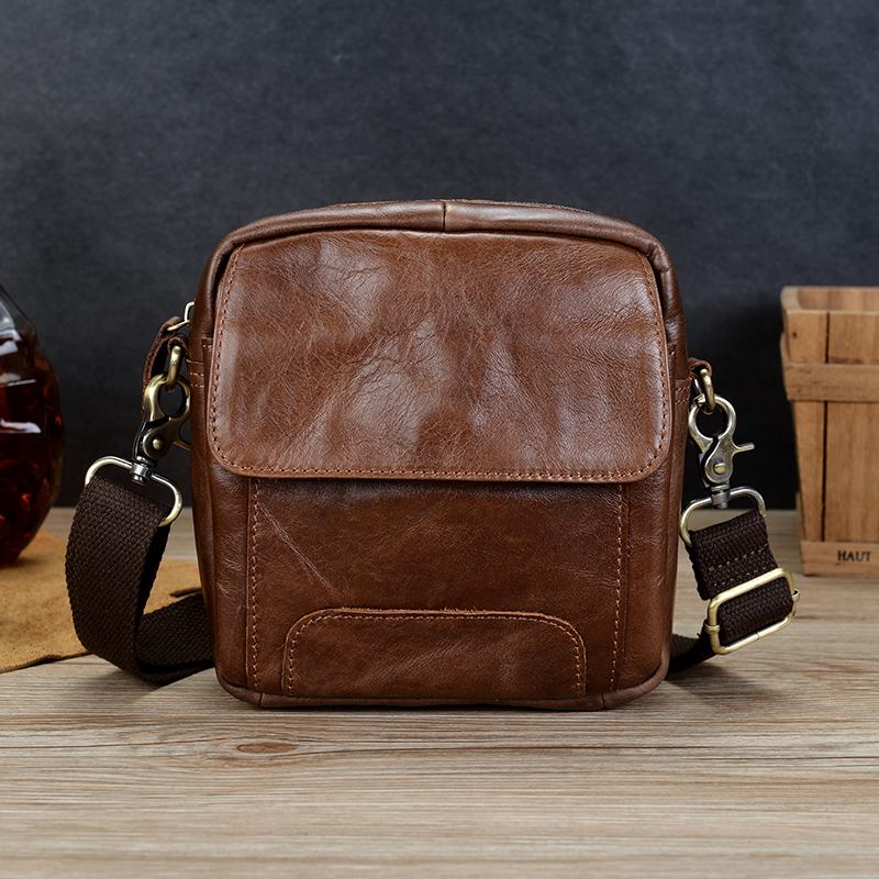 Head leather retro mens bag leather messenger bag business leisure fashion brand one shoulder bag straddle bag vertical Backpack