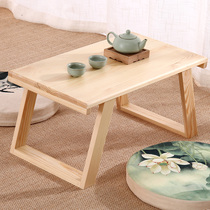 Japanese windowsill Terrace Table Floating window Table tatami coffee table solid wood Kang table low table computer table balcony Small dining table