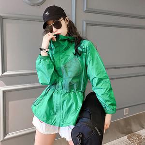 2021春夏新款连帽防晒服休闲百搭短外套防紫外线时尚防晒衣女装潮