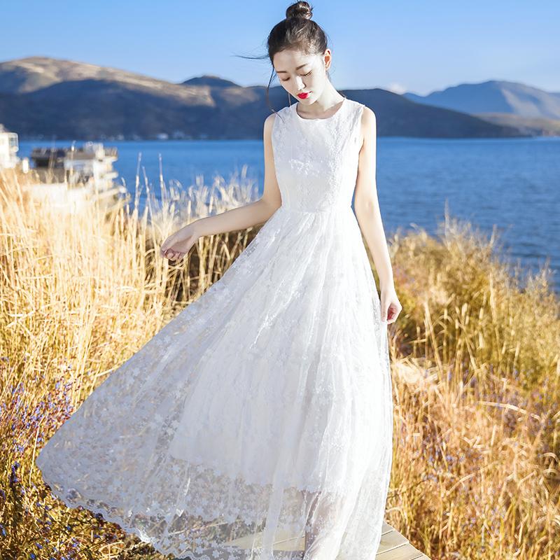 2019夏季新款女装白色复古裙子超仙蕾丝连衣裙长裙海边度假沙滩裙券后159.00元