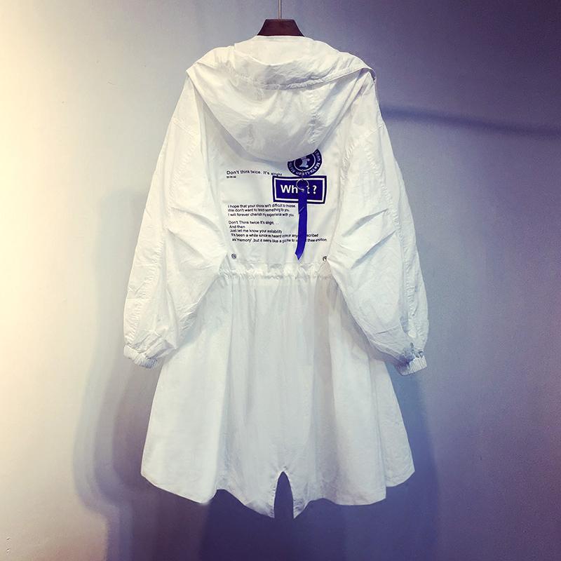 白色风衣2021春季新款韩版休闲中长款春秋宽松薄款外套收腰上衣女