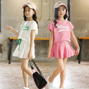 女童套裙夏季小姑娘姐妹网球洋气套裙中大儿童短袖母女运动两件套
