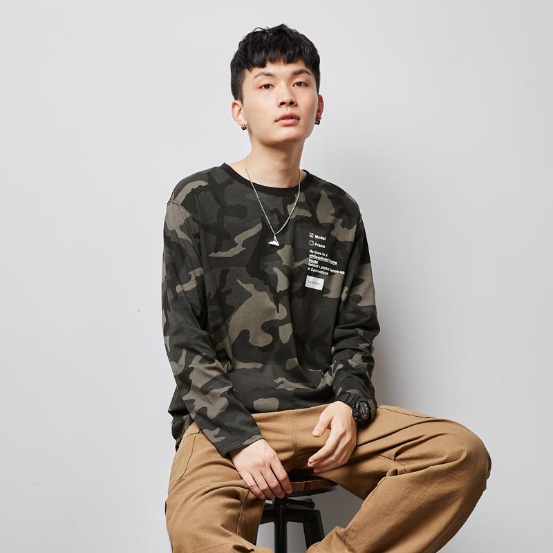 唐狮2020秋季新款长袖T恤男迷彩内搭体恤衫韩版潮流宽松学生上衣