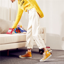 Tangshi spring and autumn 2019 high waist leisure white jeans CEC pants children show thin straight barrel loose legs daddy