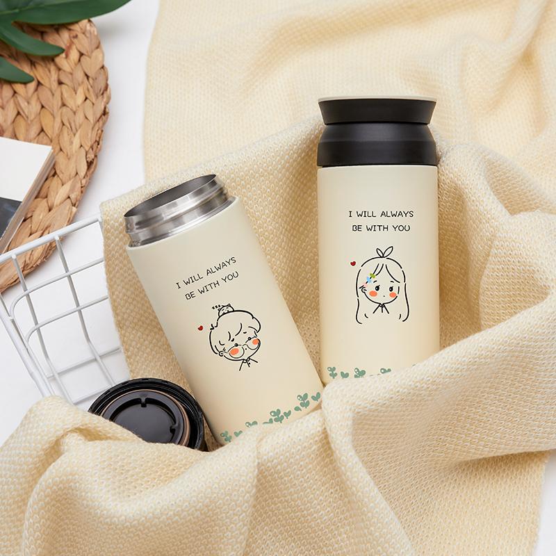 唐狮日式保温杯女学生情侣水杯简约小清新不锈钢杯子泡茶杯茶漏杯