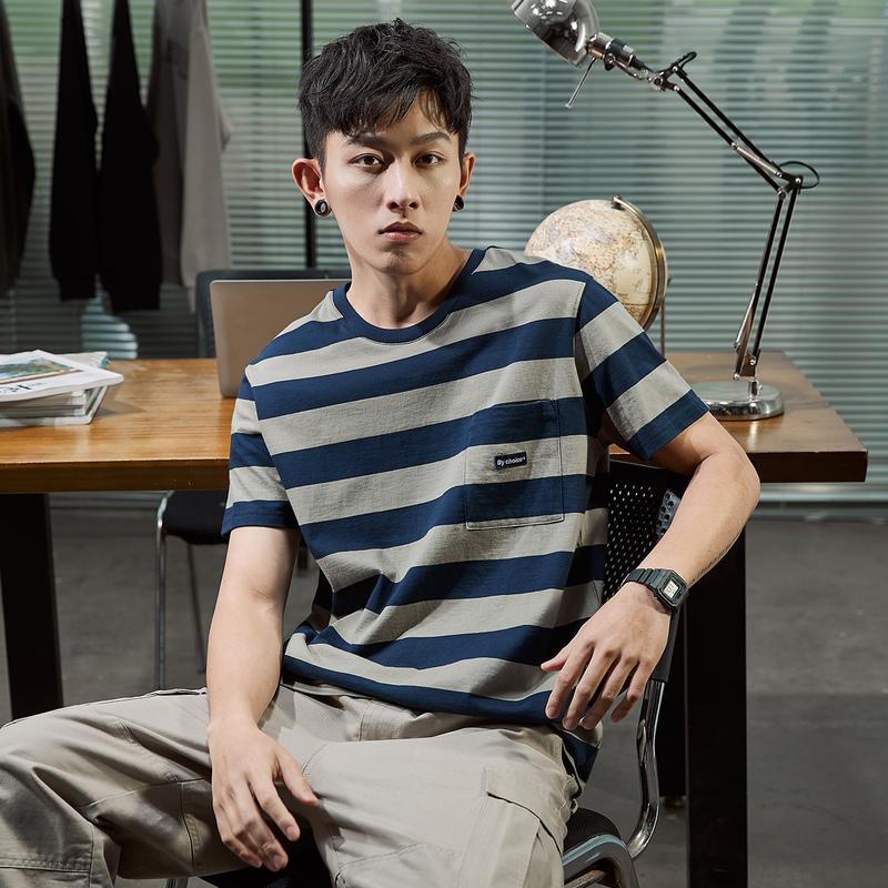 唐狮2020夏季新款短袖T恤男条纹韩版宽松纯棉青少年学生潮流半袖