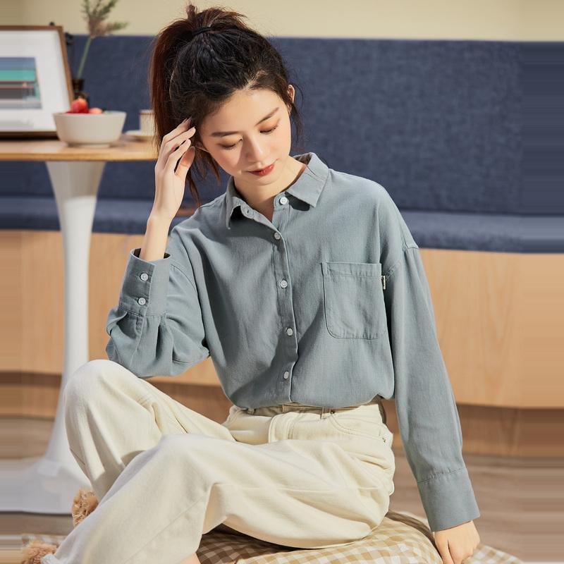唐狮2020年秋新款长袖女衬衫韩版宽松白色女士衬衣复古港味上衣a