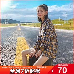 唐狮2020年新款格子衬衫女士长袖衬衣设计感小众上衣外穿百搭春秋品牌