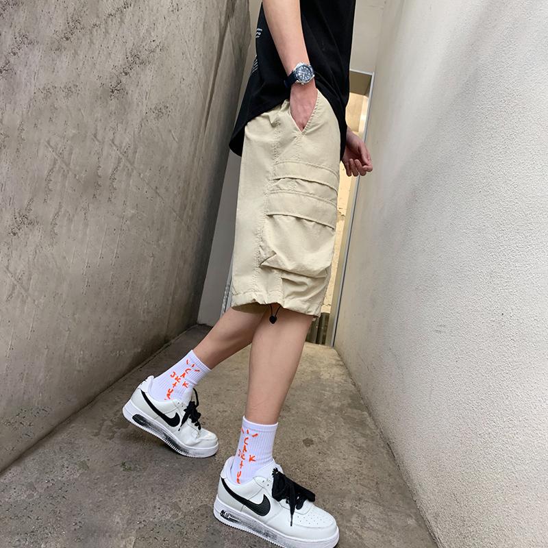 Radiohead工装短裤男潮牌宽松2021夏季薄款休闲裤子五分裤简约帅
