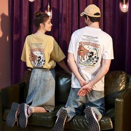 2020新款情侣装夏装短袖T恤男潮牌潮流纯棉半袖ins衣服女宽松夏天图片