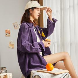 唐狮2019秋冬新款女士衬衫韩版长袖宽松灯芯绒衬衣外穿加厚女上衣