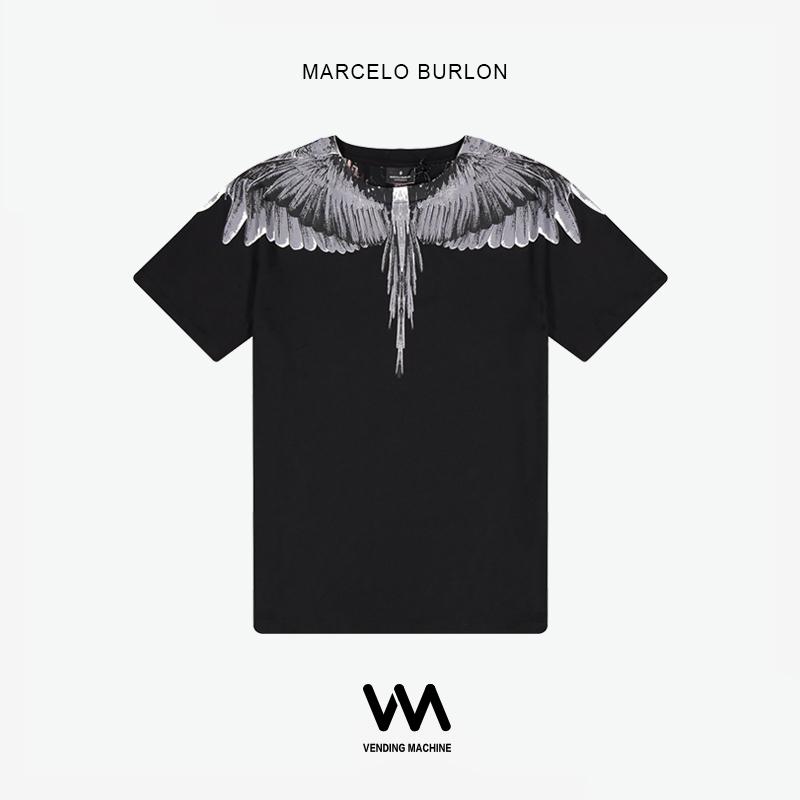 Marcelo Burlon 19ss tee海外正品MB新款灰色翅膀男女同款短袖T恤