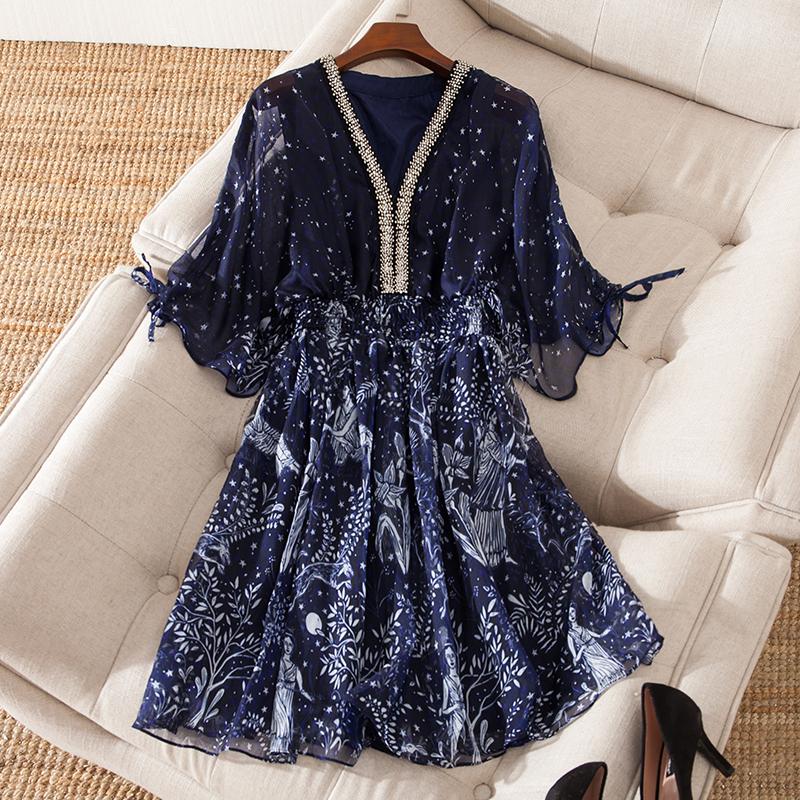 胖mm大码女装2018夏装新款胖妹妹仙女洋气藏肉显瘦雪纺连衣裙减龄