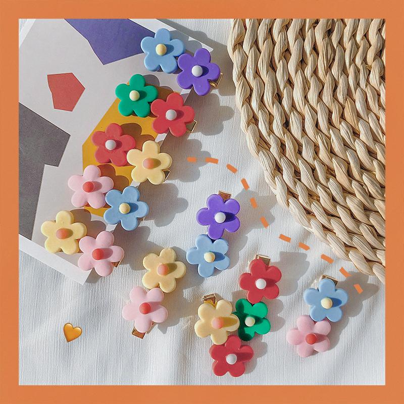 泫雅风彩色花朵发夹女可爱日系糖果色夹子韩国撞色少女发卡边夹满4.60元可用1.8元优惠券