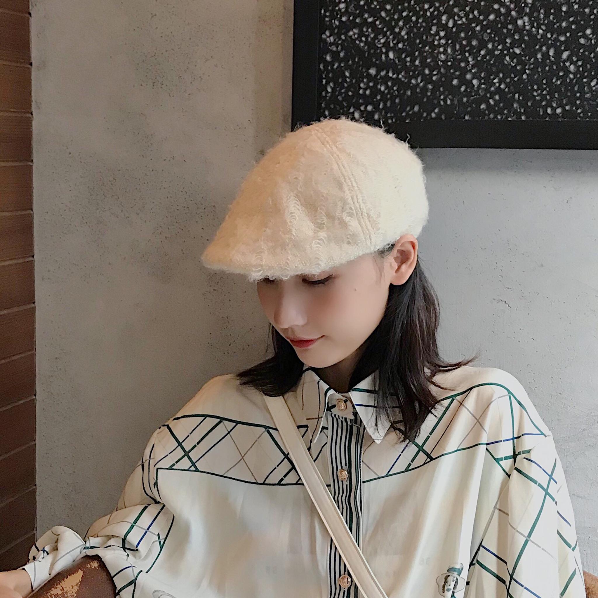 日系文艺薄款前进帽秋冬透气可折叠帽子女韩版休闲百搭短檐贝雷帽