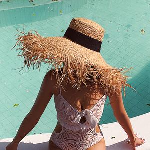 夏天海边度假超大檐遮阳防晒草帽ins同款女沙滩旅游毛边草编帽子