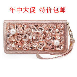 Han s show brand leather dinner pearl diamond crystal ice female money long section of pure leather hand