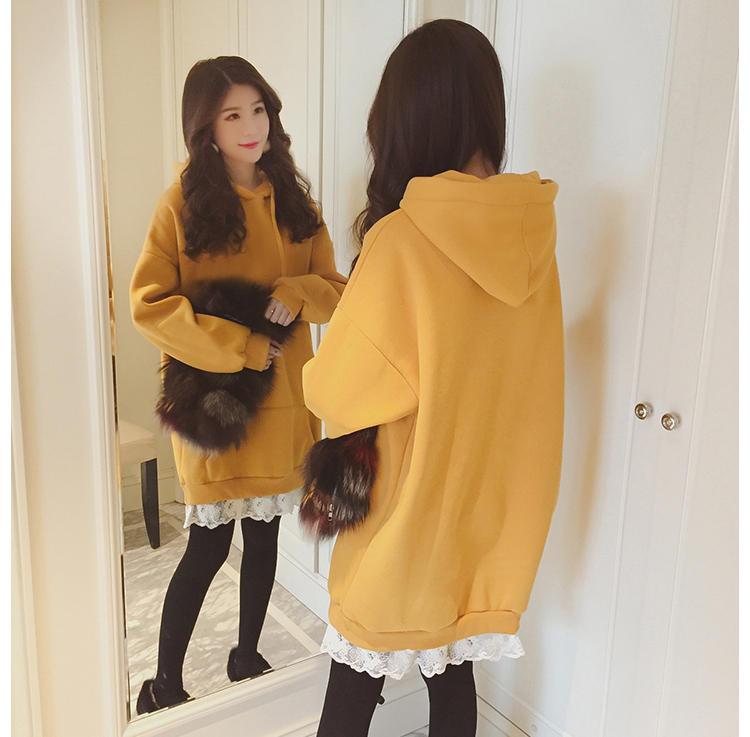5305#冬季2017新款宽松长袖连帽加绒卫衣女中长款加厚学生卫衣裙
