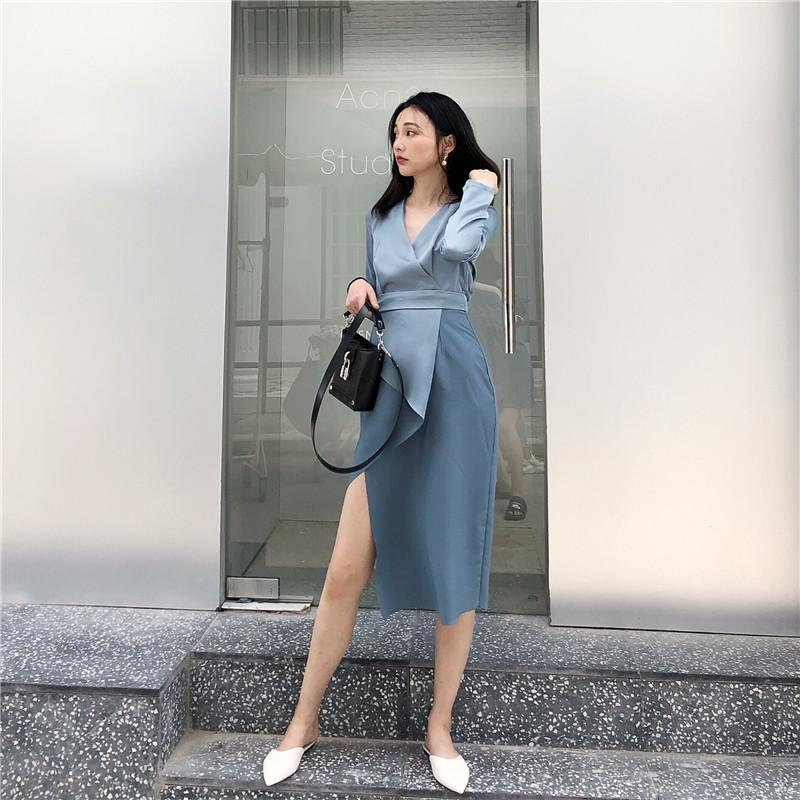 冷淡风连衣裙极简主义绸缎面法式复古中长款裙子丝绸女春季2019热销3件限时抢购