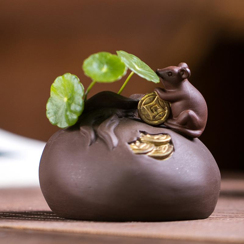 紫砂精品金钱鼠青蛙蜗牛可养水培花器绿植茶盘茶具招财茶宠小摆件