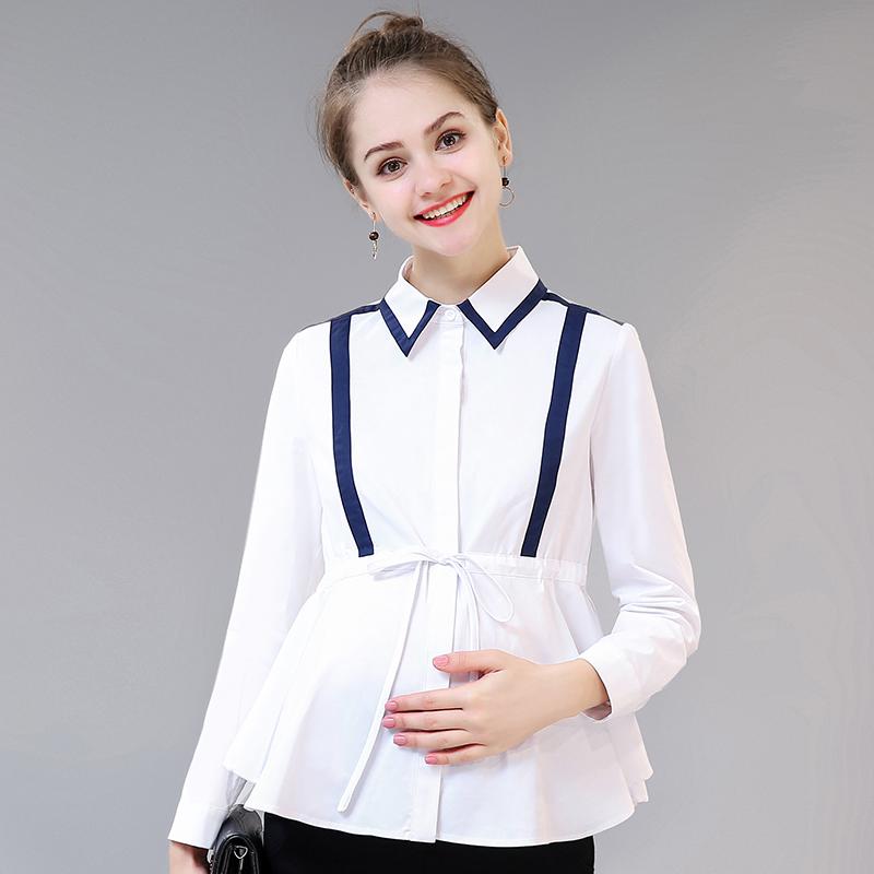 孕妇装2019春秋新款职业工装孕妇衬衫女秋季白色衬衣短款长袖上衣