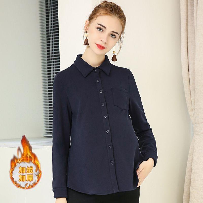 孕妇装2018秋冬新款孕妇衬衫女加绒加厚职业工装针织打底长袖衬衣