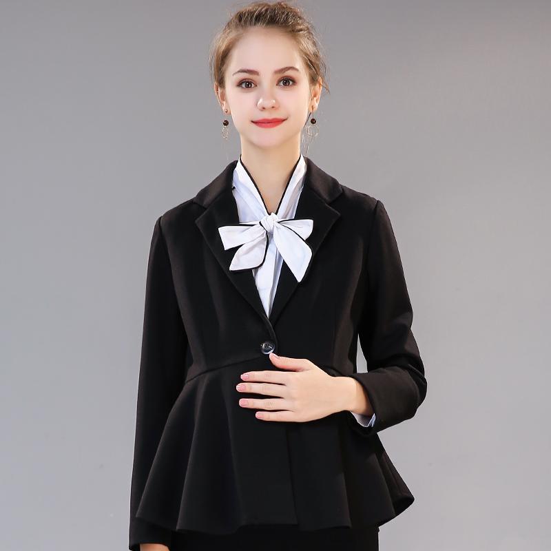 高端职业孕妇小西装2019新款韩版秋季孕妇修身OL面试工装黑色外套图片