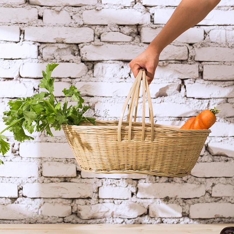 竹编制品提篮竹篮家用买菜篮子手工编织藤编青篾水果收纳筐购物篮 - 封面