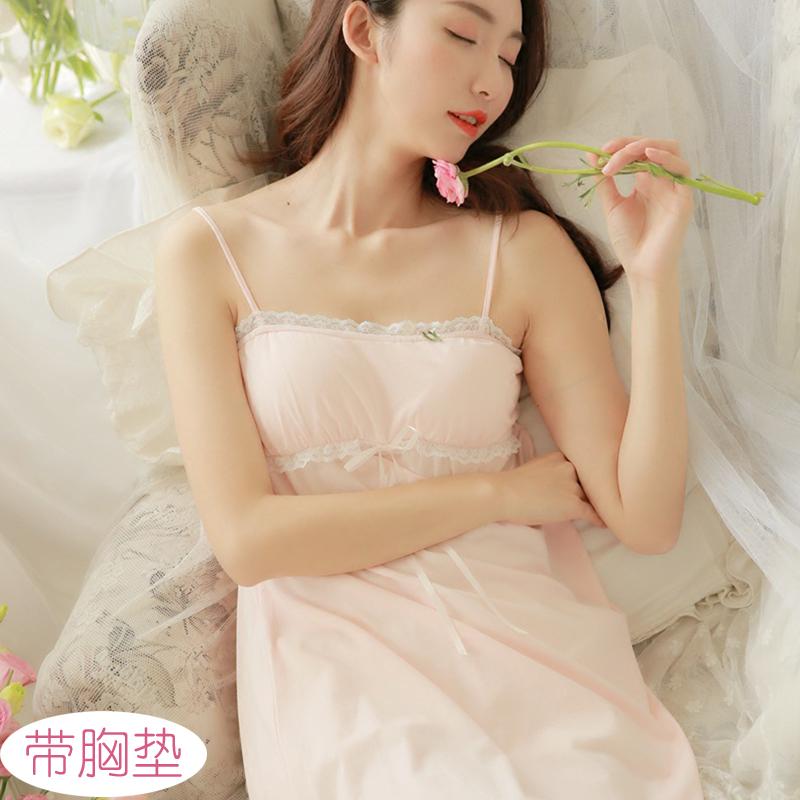 假一赔十性感睡衣女夏吊带裙纯棉可爱公主清新甜美大码家居服睡裙带胸垫