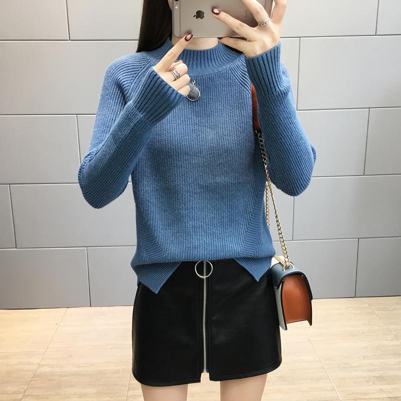 半高领毛衣女秋冬装新款韩版宽松长袖套头打底针织衫百搭chic上衣111