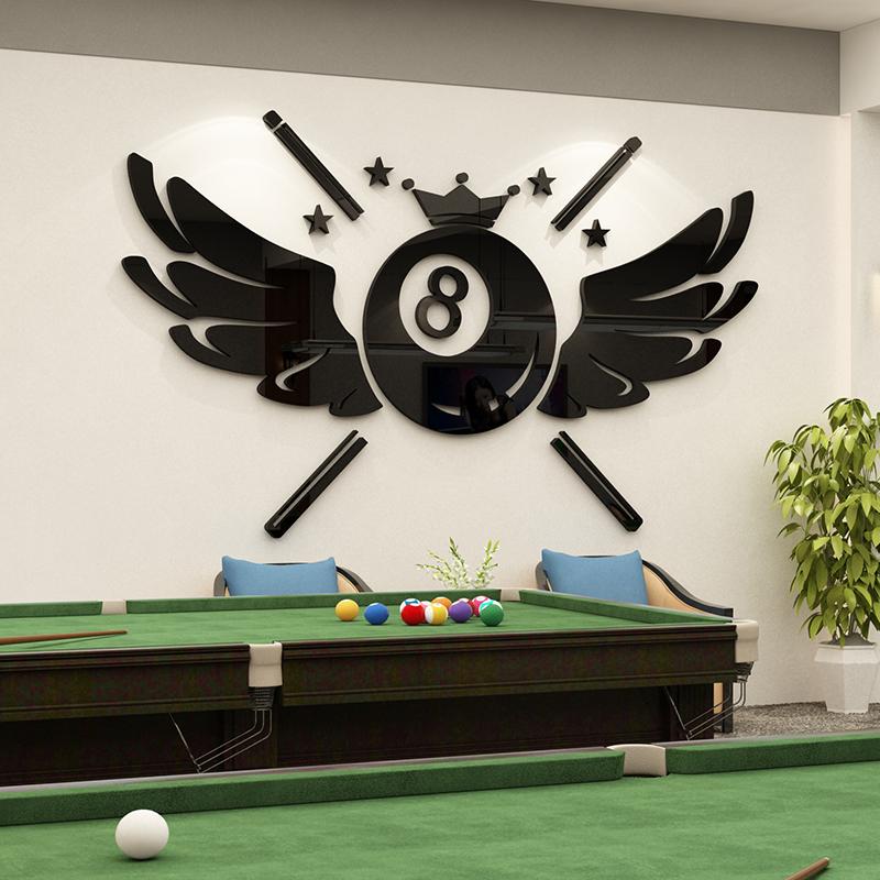 台球厅桌球室斯诺克俱乐部背景墙贴画装饰品创意3d立体亚克力壁纸