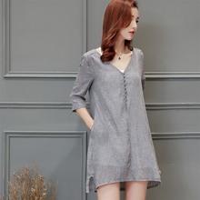 七分袖中长款高腰型不对称纽扣单排多扣百搭纯色2017年夏季连衣裙