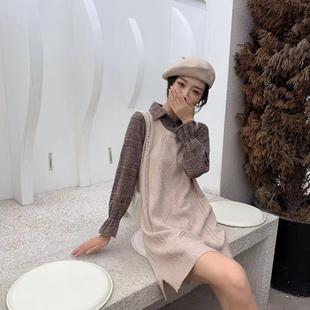 2019年新款 流行裙子仙女超仙森系小香风长袖 秋冬装 假两件连衣裙女