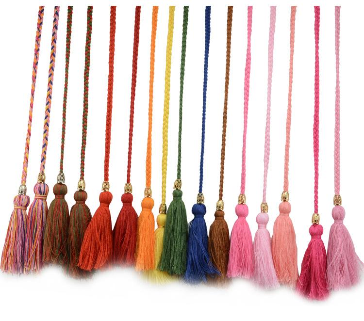 编织细腰链流苏腰带女大码加长复古民族风手工腰绳子装饰打结裙带