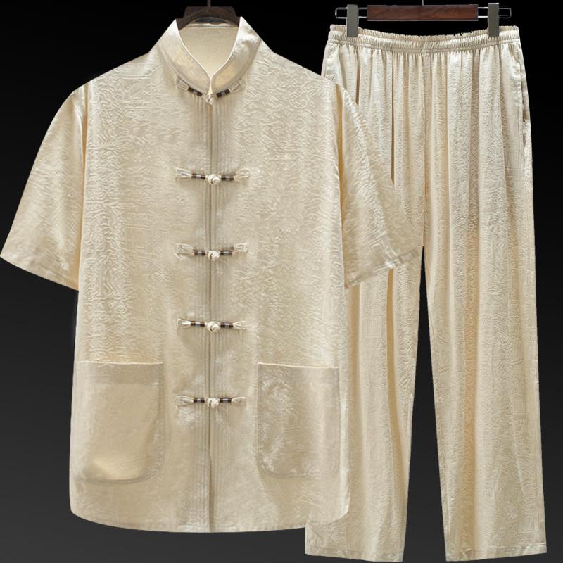 中国风桑蚕丝唐装男真丝绸中老年夏装爷爷老人衣服爸爸装短袖套装