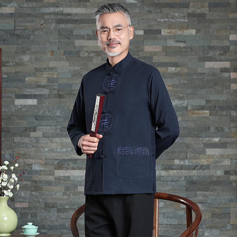 中老年人唐装男士中国风薄款桑蚕丝长袖套装爷爷老人夏装真丝汉服