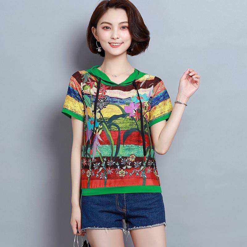 彩虹色条纹印花短袖女夏装休闲卫衣11月06日最新优惠
