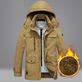 吉普战车棉衣男冬季中长款纯棉宽松休闲棉服外套加绒加厚保暖棉袄