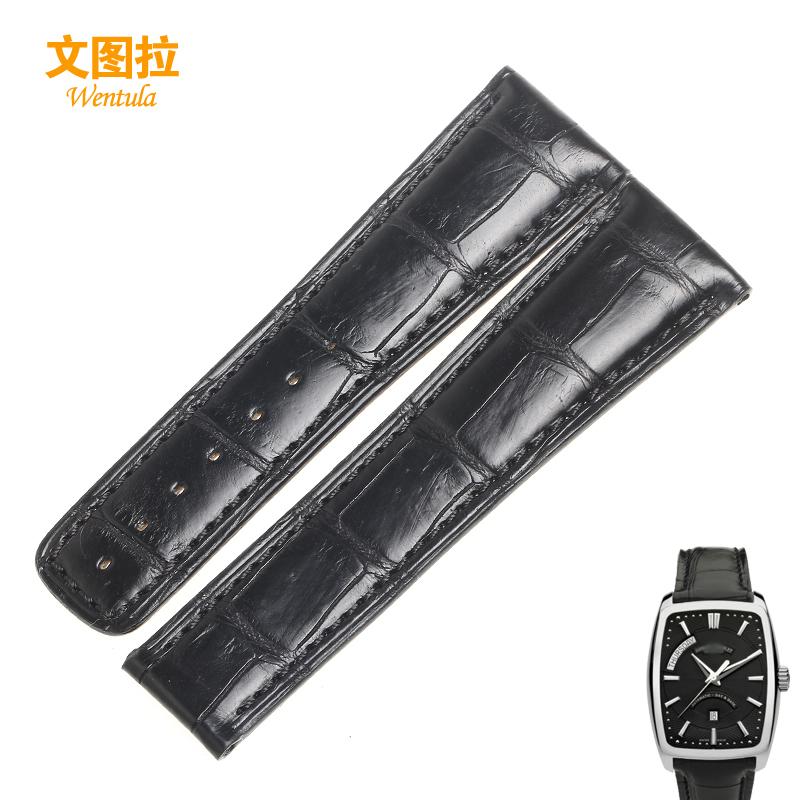 文图拉鳄鱼皮表带 代用艾美达 当代休闲系列真皮手表带22MM黑棕