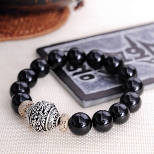 Natural obsidian with Silver Pearl bracelet domineering male models