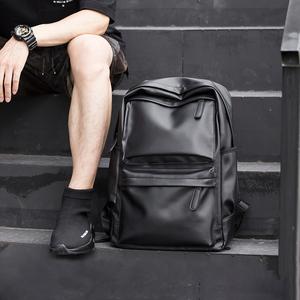 皮质简约双肩包男士时尚潮流休闲旅行电脑背包初中大学生书包男包