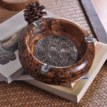 タイの工芸品の特性の贈り物の個性を彫刻木材を輸入し装飾ヴィンテージ灰皿灰皿は