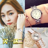 手表水钻陶瓷韩版潮流时尚学生小表盘防水钢带时装机械石英手链表