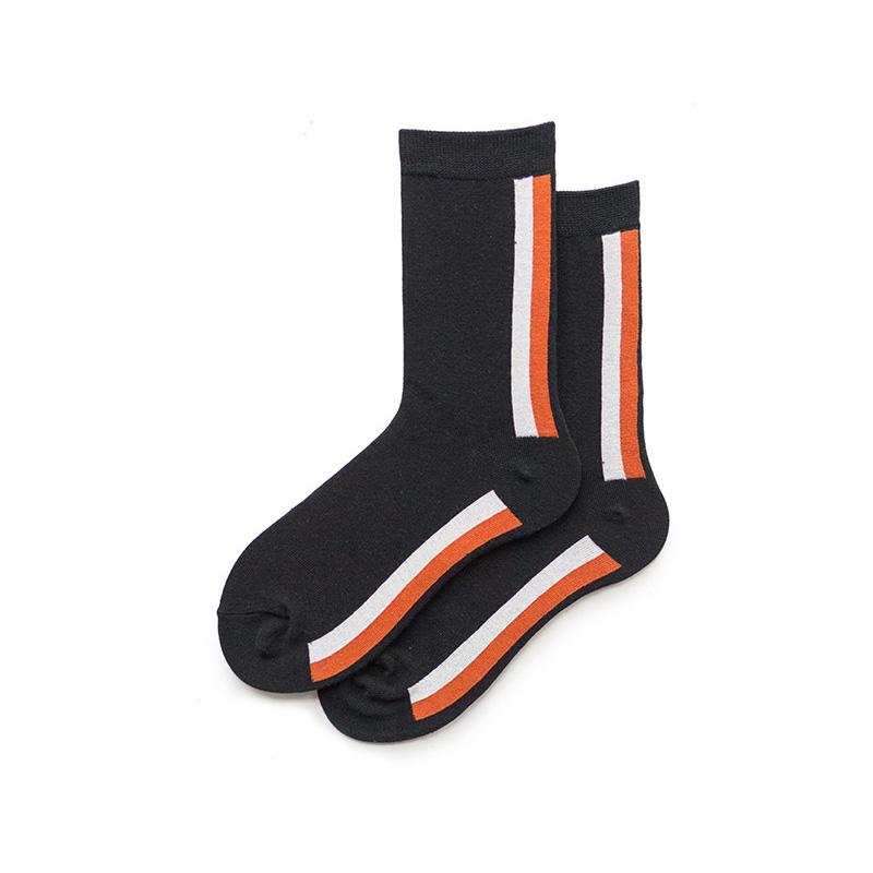 2018设计师款 简单阴阳竖条纹黑色商务上班穿的情侣袜子